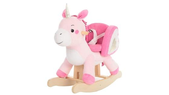 Cavallo a Dondolo per Bambini con Suoni Realistici Struttura in Legno e Peluche